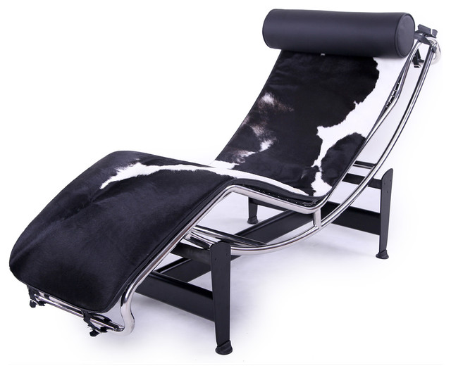 Chaise Lounge Black & White Cowhide Modern Indoor Chaise Lounge Chai