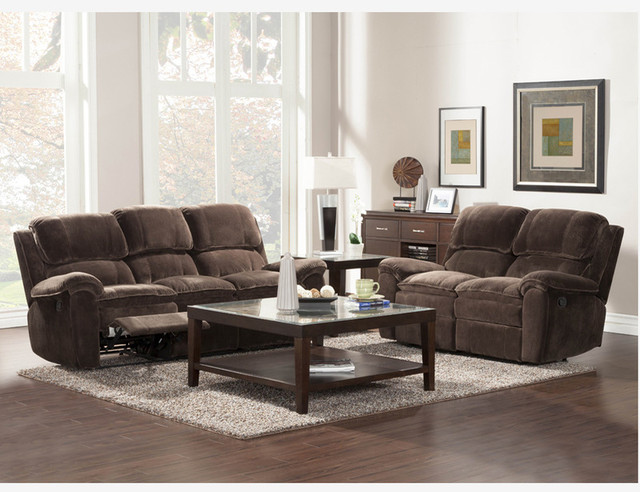 Chocolate microfiber reclining sofa loveseat tufted living room set