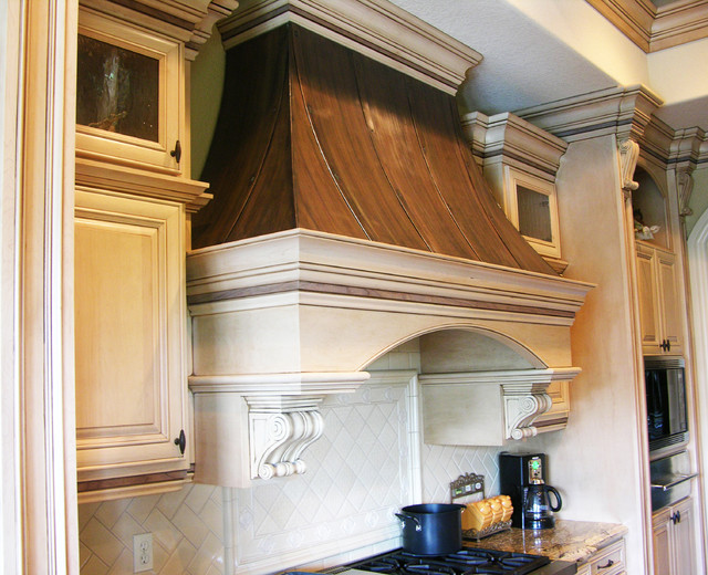 Wood+Copper Kitchen Range Hood - traditional - kitchen hoods and