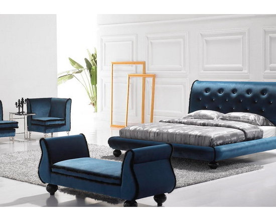 Paulette Bed Frame - Gorgeous hand-tufted microfiber upholstery and exquisitely designed styling put the perfect touch on the Paulette Modern Microfiber Bed Frame. You'll love the modern take on this timeless style.