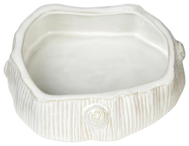 Faux Bois Ceramic Cat Bowl, White contemporary pet accessories