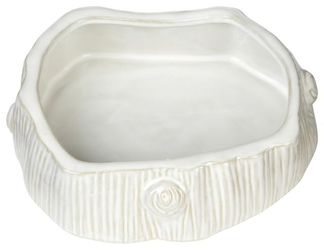 Faux Bois Ceramic Cat Bowl, White contemporary-pet-bowls-and-feeding