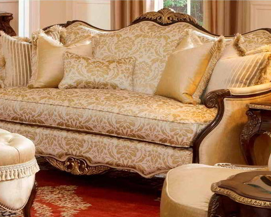 AICO Furniture - Imperial Court Wood Trim Sofa - AIC-79815-CHPGN-40 - Part of the Imperial Court Collection