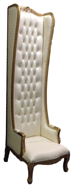 High Back Chair, Gold/White traditional-living-room-chairs