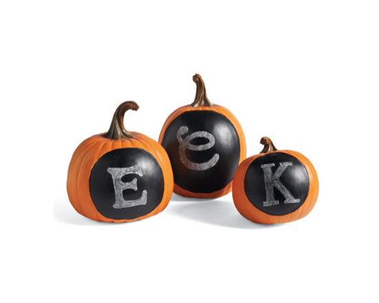 """Grandin Road - Chalkboard Pumpkin - 11-1/2""""H - Designer pumpkin with a chalkboard paint front. Crowned with a natural-looking stem. Crafted from durable polyresin. Vibrant powdercoat finish. Each size sold separately. Instantly compose a gourd-geous Halloween display: all you need are our Chalkboard Pumpkins and a crafty message. You won't even have to pay a visit to the pumpkin patch. Each plump, lifelike pumpkin is sculpted from sturdy polyresin with a """"face"""" that's painted with chalkboard paint. Select as many as you like and spell out your favorite message or make a series of faces. They're so versatile and fun, you'll look forward to displaying them year after year.  .  .  .  .  . Chalkboard wipes clean with a dry cloth . Here are a few sayings to get you started: BOO!, EEK!, Trick or Treat . A Grandin Road exclusive."""