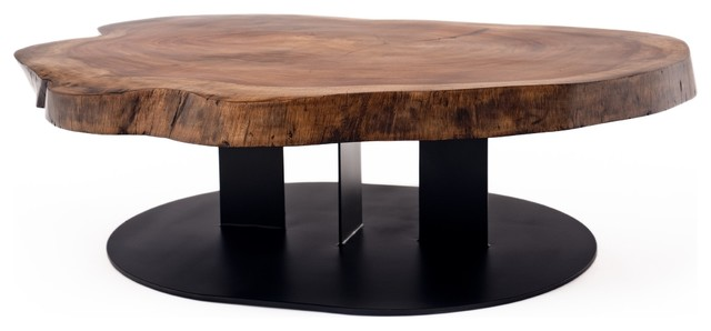 Walnut Slab Coffee Table contemporary-coffee-tables