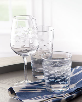 Four Etched Fish Wine Glasses traditional-everyday-glassware