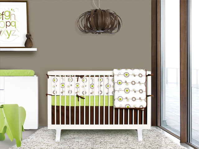 Green and Brown Bloom 4-piece Crib Set contemporary-baby-bedding