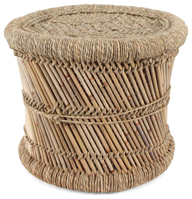 Woven Indian Mooda Stool, 17.5 Dia X 12 H Inches rustic-footstools-and-ottomans