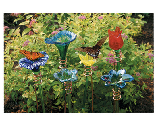 Hand blown Glass Flower Feeders -