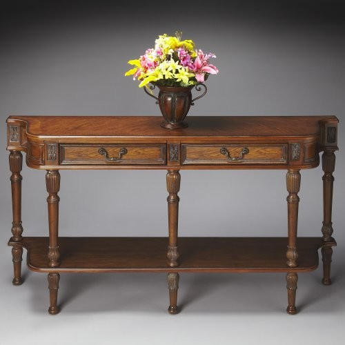Butler Console Table 33H in. - Vintage Oak traditional-side-tables-and-end-tables