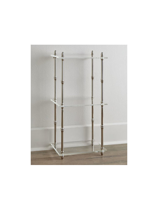 """Horchow - Nickel Wall or Floor Shelf - Sized right for tight spaces and designed especially for bathrooms or powder rooms, this shelf can be mounted on the wall or left standing on a flat surface. Made of metal and acrylic. Available with nickel or gold-tone finish. Three shelves. 14""""W x..."""
