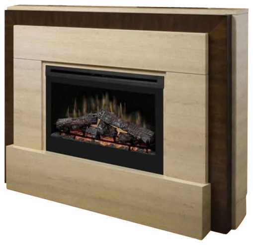 Dimplex Gibraltar Mantel Electric Log Fireplace in Tavertine modern-indoor-fireplaces