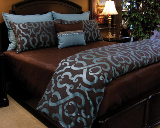 Bedding 2013 - MOROCCO BEACH: Rich Chocolate and Teal makes this Transitional fabric a must have.  Accented with a teal mini damask diamond, chocolate mini dot and beaded detail.