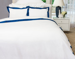 400 Thread Count  Hotel Collection Border Bedding  Duvet, The Linden Navy Blue modern-duvet-covers