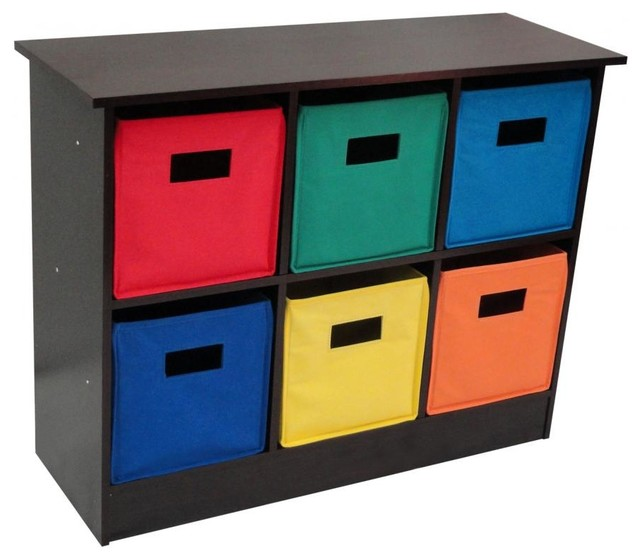 6 Bin Storage Cabinet - Espresso - Traditional - Toy Organizers - by Sourcing Solutions, Inc.