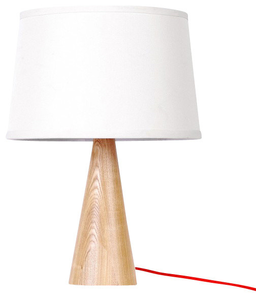 white fabric shade wooden base modern table lamp large contemporary tabl. Black Bedroom Furniture Sets. Home Design Ideas