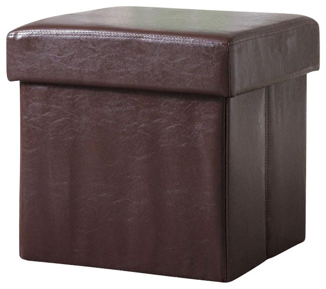 Coaster Square Faux Leather Storage Ottoman in Brown transitional-footstools-and-ottomans