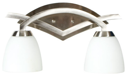 Viewpoint Brushed Nickel Two-Light Bath Fixture with Cased Frost White Glass contemporary-bathroom-lighting-and-vanity-lighting