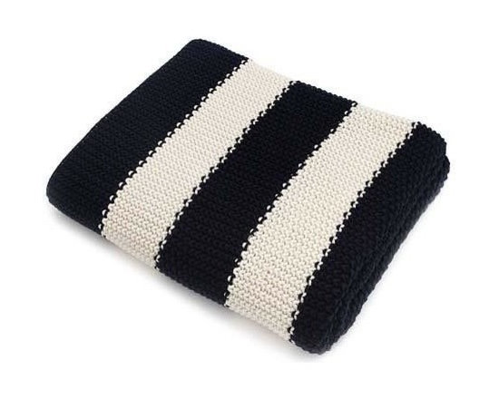 Belle & June - Navy Stripe Cotton Blanket - Stripe it rich with this classic cuddly blanket. The look is timeless, and the feel of 100 percent cotton is wonderfully warm. Place it on your bed, couch or favorite chair — it's sure to become your go-to throw.