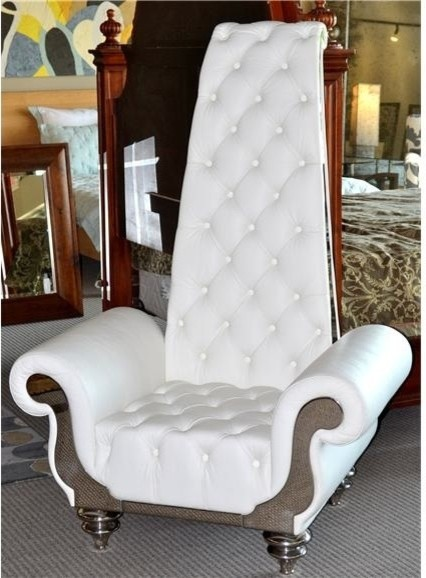 Evolution high back white leather tufted chair eclectic armchairs and accent chairs austin for High back chairs living room