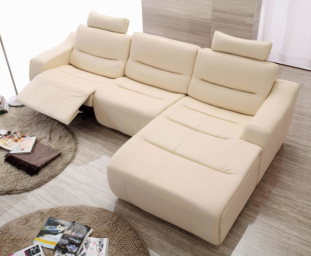 Cream Italian Leather Sectional Sofa Set with Recliner Chair ...