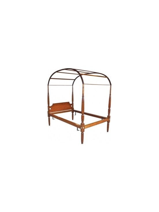 """Eco Friendly Furnture and Lighting - From the collection of Marjorie Merriweather Post at CAMP TOPRIDGE in the Adirondacks. A fully intact and original Hepplewhite manner """"rope bed"""" with arbor arched canopy frame. This bed subsequently passed through the collection of a notable network news/Hollywood couple at their Litchfield County country house. A 'single' bed; the frame accommodates mattress and boxspring measuring 41"""" x 71""""."""