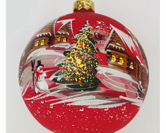 Winter Village Red Glass Hand-Painted Christmas Ball Ornament - This vintage style Christmas ball ornament is 4'' (100mm) in diameter and made of hand blown red glass. It is hand painted by a skilled artist and will be a beautiful addition to your Christmas ornaments collection. Artists use same painting technique that was used in 1800's. Each glass ornament is painted individually which makes them unique and adds some small variations to each product.