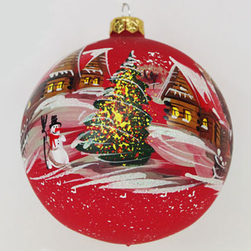 Glass Christmas Balls Decoration Ideas : Winter village red glass hand painted christmas ball