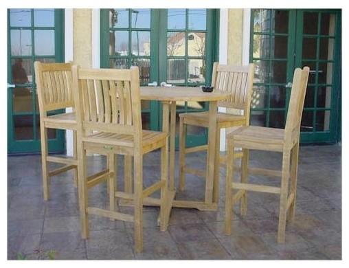 Bahama Round Bar Table & 4 Avalon Bar Stool Set