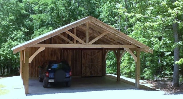 Timber Frame Carport Workshop Rustic Garage And Shed
