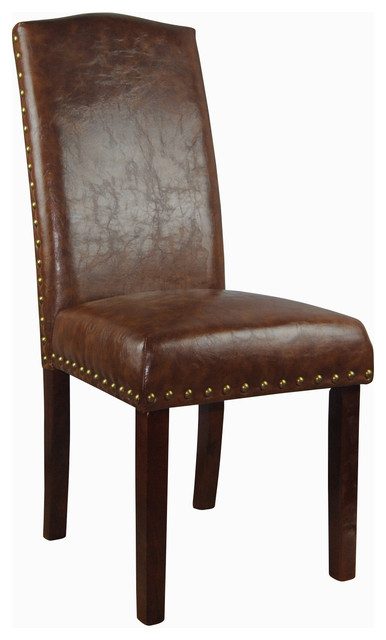Castillian collection espresso faux leather parson chairs for Leather parsons dining chairs