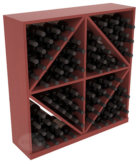 Solid Diamond Wine Storage Bin in Pine with Cherry Stain + Satin Finish contemporary-wine-racks