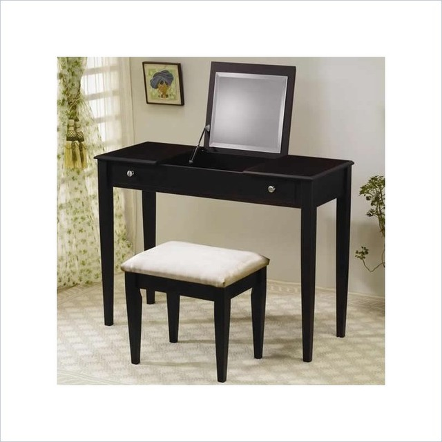 Coaster Wood Two Drawer Makeup Vanity Table Set With