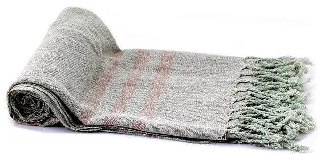 Silk Turkish Towel Fouta with Biscuit Stripes on Olive Drab mediterranean-towels