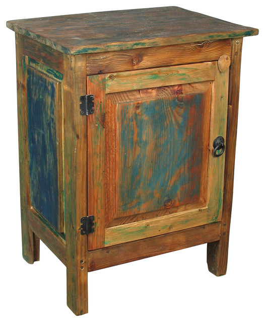 Painted Wood 1 Door Nightstand Multi Color Rustic Nightstands And