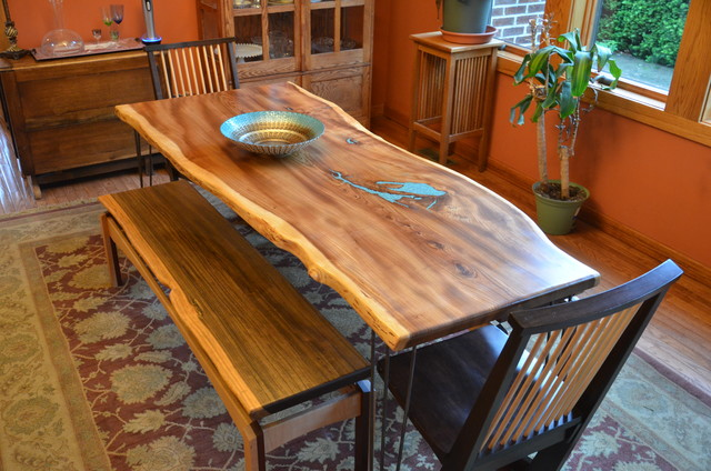 ... Elm Dining Room Table With Turquoise Inlay midcentury-dining-tables