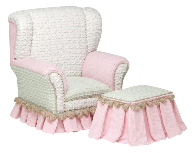 Primrose Childs White & Pink Wingback Chair With Ottoman contemporary kids chairs