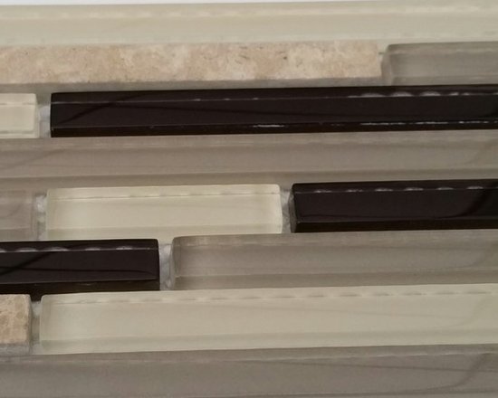 Rachels Mosaics - Expresso Sleek Brick - Featuring three shades of clear glass and natural stone. This color combination will compliment bathrooms and kitchens alike.
