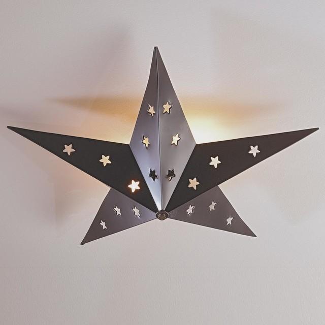 Rustic Tin Star Ceiling Light Flush Mount Ceiling
