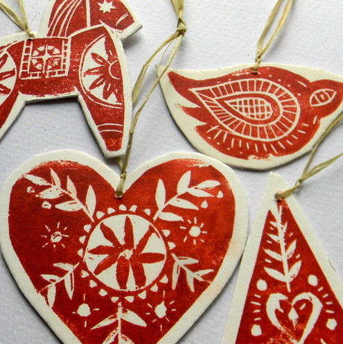 Lino Print Tree Decorations eclectic holiday decorations