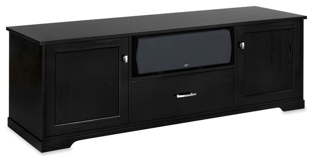 Standout Horizon EX Solid Wood Media Console, Black on Ash, Wood Doors - Transitional ...