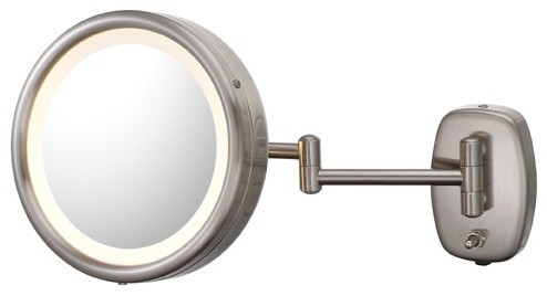 Contemporary Brushed Nickel Plug In Swing Arm Lighted Vanity Mirror Contemp