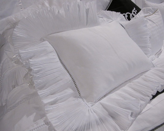 Nottingham Boudoir Sham - Escape the stresses of everyday life with Nottingham's dreamy bedding collection. The simple, yet, gorgeous tiny pleated ruffled-trim, is accented with a beautifully constructed large hemstitch providing pure romance provides pure romance to snow-white cotton.   The beautifully ruffled boudoir pillow sham perfectly coordinate with our other bedding collections (sold separately).  Made in Portugal.