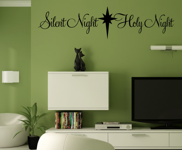 Silent Night Vinyl Wall Decal hd029, Yellow, 18 in. contemporary-wall-decals