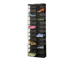 Black Polyester 26-Pocket Over-the-Door Shoe Organizer modern-clothes-and-shoes-organizers
