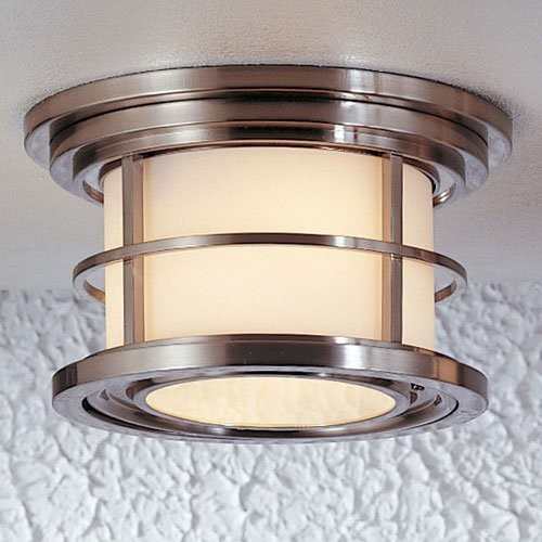 Murray Feiss Lighthouse Outdoor Ceiling Light - 5.5H in. Brushed Steel contemporary outdoor lighting