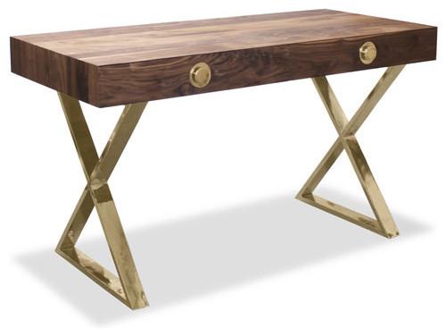 Walnut and Brass Channing Desk modern-desks