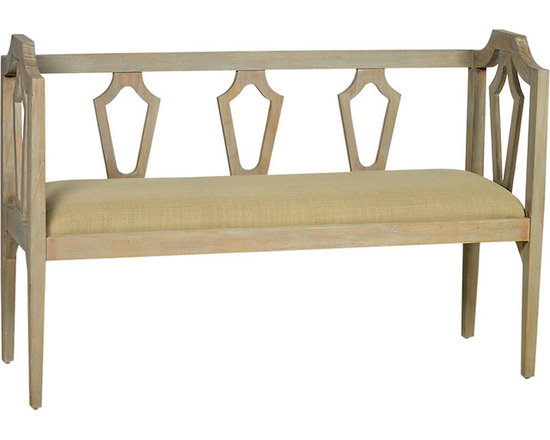 Venise Bench - Add style and character with the Venise wood bench. The open woodwork design of the sides and back of the bench creates a light and airy style that works in a variety of home d�cor contexts. The bench's upholstered seat features a durable neutral fabric that complements the lightly distressed finish of the wood frame. Add this bench to your entryway for a convenient seat while putting on shoes - or find a space for it in the living area to serve as a charming accent.