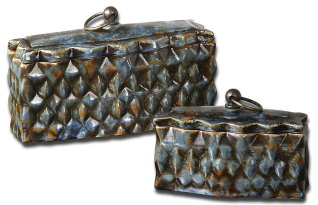 Neelab Ceramic Containers, Set of 2 contemporary-decorative-objects-and-figurines
